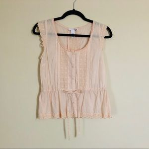 Sweet & Feminine Blush Pink Embroidered Lace Top